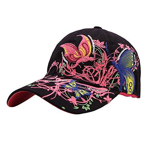 ZYHstore Damen Frauen modische Vintage Einstellbar Schmetterling und Blumen Stickerei Baumwolle Baseballmütze Outdoor Freizeit Baseball Kappe Hysteresen Sonnenhut Sun Hut Hüte (Angeln Trucker Hut)