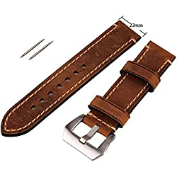 Brown 22mm Vintage Mens Genuine Leather Replacement Watch Strap Band Stainless Steel Buckle