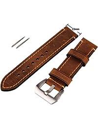 Marrón 22mm Vintage de piel auténtica para hombre de repuesto hebilla de acero inoxidable correa de reloj Band