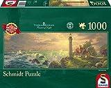 Schmidt Spiele Puzzle 59477 - Thomas Kinkade, Leuchtturm-Idylle, 1.000 Teile Panoramapuzzle