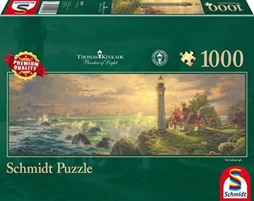 Schmidt Spiele Puzzle 59477 59477-Puzzle Thomas Kinkade 1.000 Teile Leuchtturm-Idylle, Panoramapuzzle, bunt