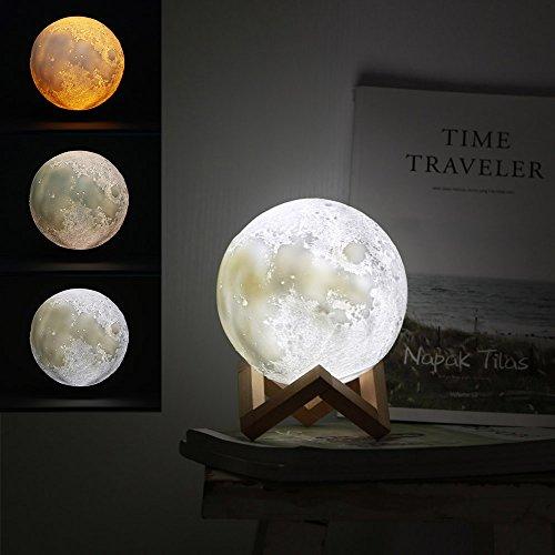 Jiusion 15cm Luna Lámpara Impresión 3D Luz Noche