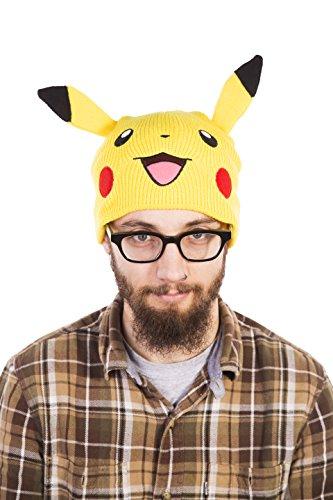 TruffleShuffle Pikachu Pokemon Beanie Strickmtze mit Ohren Gelb