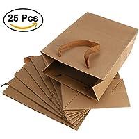 ounona 25pcs 20* 10* 28cm de bolsas de papel con asas planas