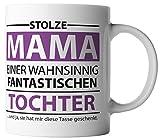 vanVerden Tasse Stolze Mama einer wahnsinnig fantastische Tochter inkl. Geschenkkarte, Farbe:Weiß/Lila