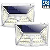 QTshine Luce Solare Esterna 98 LED, [270 ° Quattro-Angle Illuminazione] Lampada Solare con Sensore di Movimento 2000mAh Wireless Impermeabile Luci Solari con 3 Modalità per Giardino [2Pezzi]