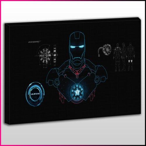 it Iron Man Anzug-Motiv, gerahmt, Schwarzer Hintergrund Frame Size 40