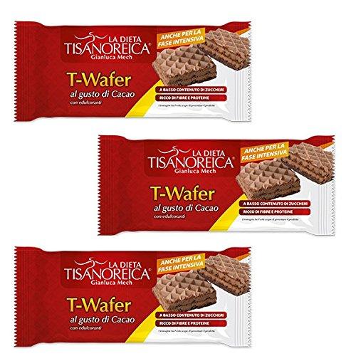 3 Tisanoreica T-WAFER AL GUSTO DI CACAO 36gX3 SNACK DIETETICO RICCO DI FIBRE - Cacao Ricco