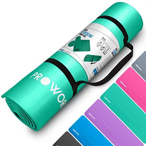 Proworks Große Premium Yogamatte Gepolstert & rutschfest für Fitness Pilates & Gymnastik mit Tragegurt in Grün - [Maße 183cm Länge 60cm Breite] - Phtalatfrei