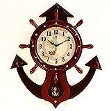CNBBGJ Grande horloge murale mute gouvernail en bois massif Salon Salon moderne et pendule simple tableau créatif,b