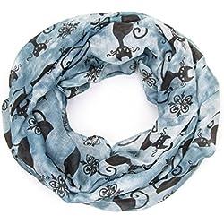 MANUMAR Loop-Schal für Damen | Hals-Tuch in blau schwarz mit Katzen Motiv als perfektes Herbst Winter Accessoire | Schlauchschal | Damen-Schal | Rundschal | Geschenkidee für Frauen und Mädchen
