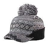 Yue Lian Damen Strickmütze mit Schirm Winter Beanie Mütze Warme Skimütze(Grau)