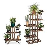 2x Pflanzentreppe im Set, Blumentreppe, Blumenregal, Pflanzenregal, Etagere, Blumenständer, Mehrstöckig, 5 Böden, Holz, dunkelbraun