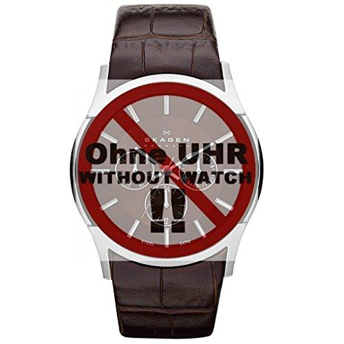 Skagen Uhrband Wechselarmband LB-SKW6001 Original Ersatzband SKW6001 Uhrenarmband Leder 25 mm Braun