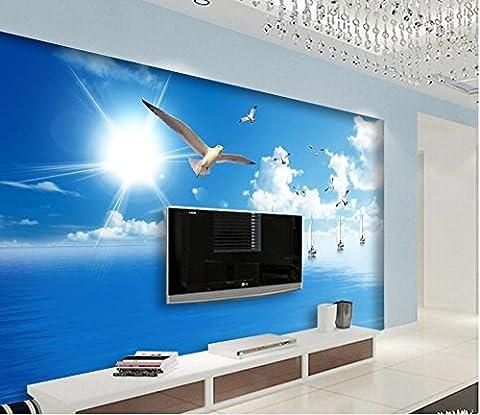 Sykdybz Décoration Maison Bleu Ciel Soleil Mouettes Voilier Océan Seascape Plat Fond Papier Peint Papier Peint Mural 3D-300Cmx210Cm