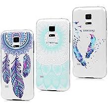 3x Funda para Samsung Galaxy S5 Mini, Carcasa Silicona Gel Case Ultra Delgado TPU Goma Flexible Cover para Samsung Galaxy S5 Mini - Totem + Pluma De Color + Captura