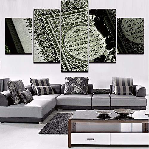 Wsxxnhh Für Wohnzimmer Moderne Hd Gedruckt Wandkunst Bilder 5 Stück/Stücke Islam Bibel Muslim Wohnkultur Rahmen Leinwand Malerei Poster-40X60Cmx2/40X80Cmx2/40X100Cmx1