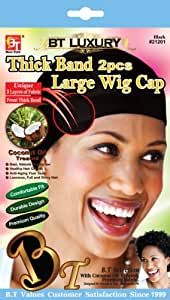 Beauty Town Thick Band Large Wig Cap (2 Pieces) (Black)