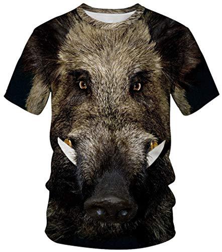 Herren Kostüm Für Shirt - Ocean Plus Unisex Rundhals Sportswear T-Shirt Kostüm mit Aufdruck Fasching Größen S-3XL Tops mit Kurzarm (3XL (Referenzhöhe: 180-185 cm), Wildschwein)