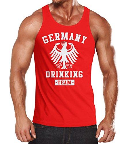 MoonWorks Deutschland Herren Tanktop Germany Drinking Bier Team Adler Rot - Für Tank-tops Männer Bier