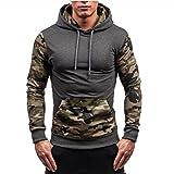 Uomo Felpa con Camouflage Cappuccio a Maniche Lunghe Autunno Invernale Sportivo Pullover Sweatshirt Hoodie Giacca M-XXXL hibote