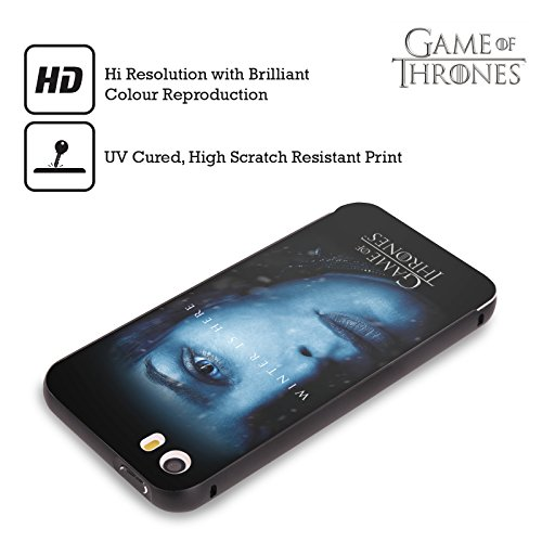Officiel HBO Game Of Thrones Jon Snow Winter Is Here Noir Étui Coque Aluminium Bumper Slider pour Apple iPhone 5 / 5s / SE Cersei Lannister