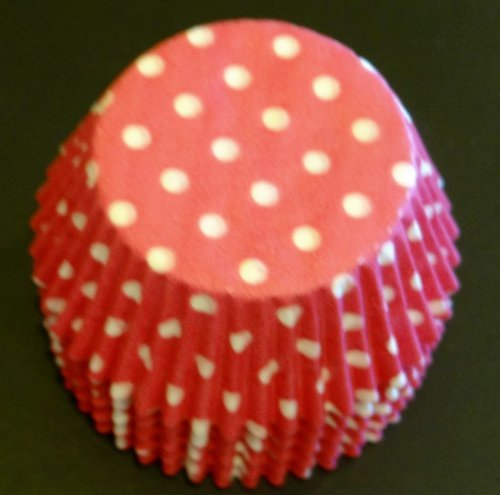 100 Hot Pink with White Polka Dots Cupcake Liners Baking Cups STANDARD SIZE by Baking and Candy Cups Dots Cupcake Liner