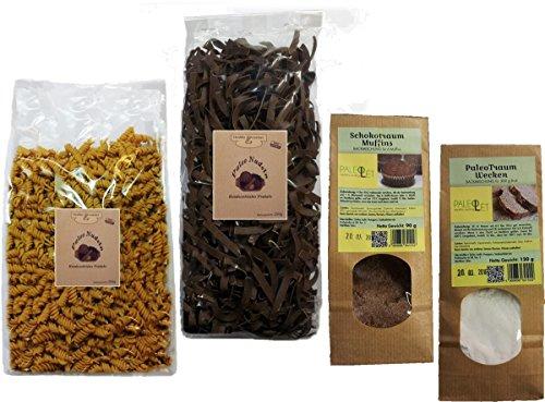 PALEO Kennenlernpaket - Nudeln (2x 250g - aus Leinsamenmehl und Sesammehl) und 2x Mehlmischung (1x Muffins 1x Wecken)