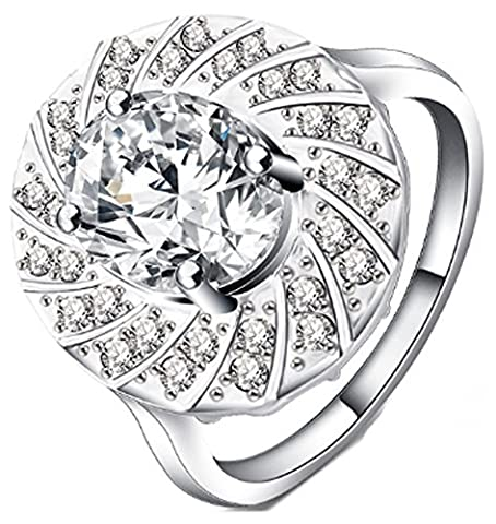 SaySure - Big Rings Silver Plated Inlay Cubic Zirconia (SIZE : 8)