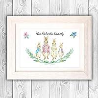 Personalised family tree gift/Rabbit family gift for family friends/New home present idea VA132