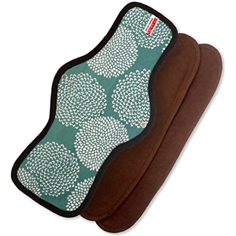 Sckoon Organic Cotton Reusable Cloth Menstrual Pads Long Maxi Chocolate TrimFireworks Teal by Sckoon Organics