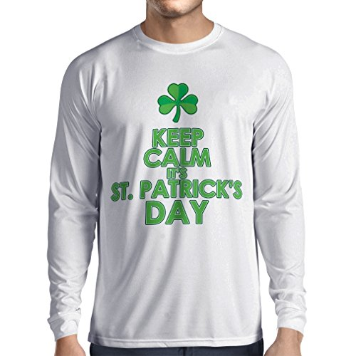 T-Shirt mit langen Ärmeln Keep Calm Saint Patricks day sayings shirts (XX-Large Weiß (Geschichte Kostüme Dance Irish)