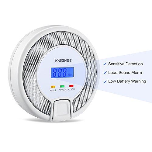 X-Sense CO03D CO Melder Kohlenmonoxid CO-Detektor Batteriebetrieben Sensor und Alarm mit Digitalanzeige und Höchstwertspeicherung - 2