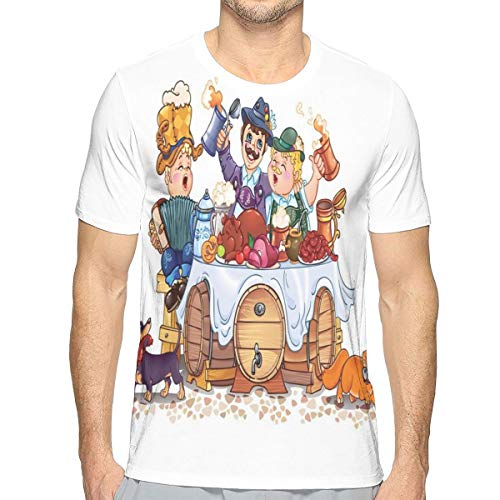3D Printed T Shirts,Colorful Bavarian Autumn Season Celebration Illustration with Beer and Pork XL Bavarian Beer House