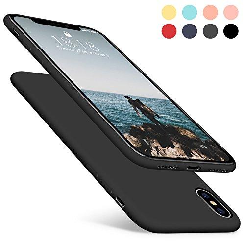 Aucaeo cover iphone x, reg; originale 360 gradi silicone [ custodia + e pellicola vetro temperato ] antiurto liquido ultrasottile protettiva morbide ultra sottile armor per apple iphone x, nera
