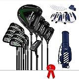 TTHU Set da Golf da 12 Pezzi Black Golf Club Golf Club da Uomo Classe S Carbon Rod Titanium Rod Head + Ball Bag + Head Cover