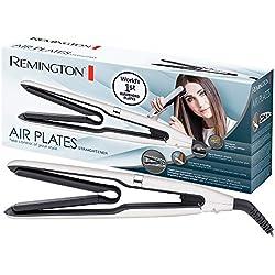 Remington Fer à Lisser, Fer à boucler, Lisseur, Boucleur AirPlate, Plaques Suspendues Black Titanium Céramique, 5 Températures, Glisse Douce - Accessoire Inclus S7412