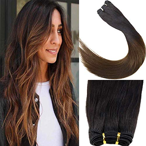 Laavoo 14pollice/35cm weaving hair extension capelli tessitura ombre nero naturale a marrone scuro remy hair bundles tessitura capelli veri 100 grammi
