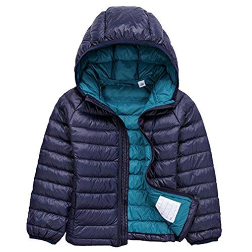 Jitong Jungen Langarm Hoodies Steppjacke Gesteppt Leicht Verpackbar Daunen Mantel Mädchen Daunenjacken (Marine, 140cm)