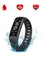 SAVFY Fitness Tracker mit Pulsmesser IPX7 Touchdisplay Bluetooth 4.0 Herzfrequenz Fitnessarmband Aktivitätstracker mit Blutdruckmesser für Android und iOS