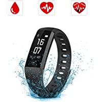 Smartwatch Orologio Intelligente, SAVFY IP67 Impermeabile Fitness Tracker, Bluetooth 4.0 Bracciale Fitness con Pressione Arteriosa/Ossimetro e Cardiofrequenzimetro Per iPhone ios / Android (Nero)