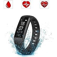 Pulsera Inteligente, SAVFY IP67 Nivel de Resistente al Agua Pulsera Actividad, Ritmo Cardíaco Presión Arterial y Oxímetro Fitness Tracker, Pantalla táctil OLED Bluetooth 4.0 relojes inteligentes Rastreador de Ejercicios para Android y IOS, Negro
