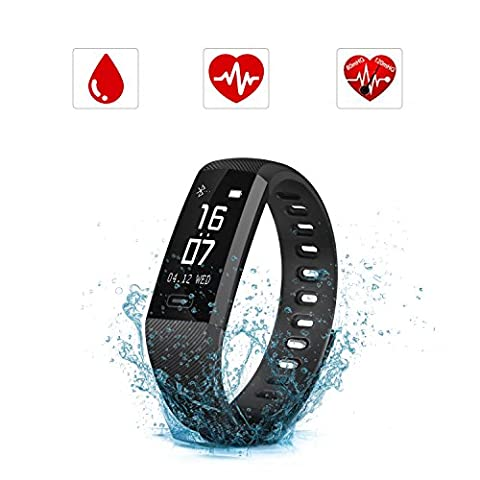 SAVFY Fitness Smart Bracelet Activity Tracker Heart Rate Monitor Smartwatch Pedometer Wristband with Step Tracking/Sleep Monitor/Calorie Counter,Call SMS Whatsapp Push for Android phone and iOS phone