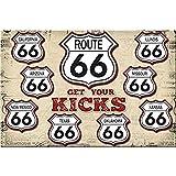Easy Painter Route 66 Schild, Historische Retro Vintage Road Sings, Klassische amerikanische Heimdekoration, Metallschilder für Garage, Bar, Restaurant, Man Cave, Wohnzimmer Dekoration