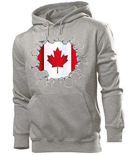 love-all-my-shirts Fussball Fanhoodie Kanada 5677 Männer Herren Hoodie Pulli Kapuzen Pullover Fanartikel Grau XL (Eishockey-kanada-bekleidung)