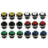 Interruttore a pulsante 18 pezzi ON / OFF Pulsante momentaneo Interruttore di alimentazione Rosso Verde Blu Giallo Bianco Nero Tappo rotondo AC 6A / 125V 3A / 250V