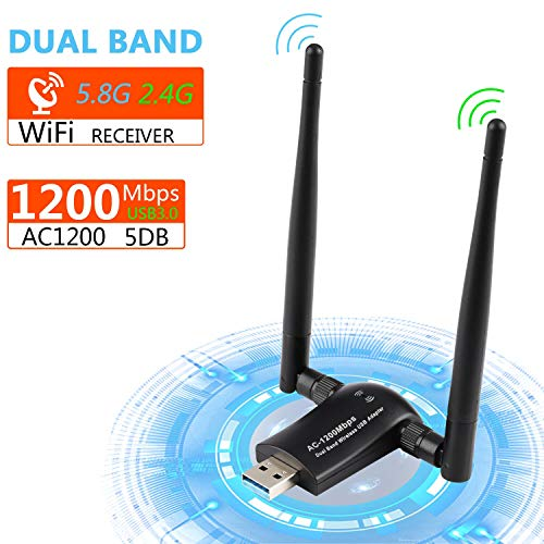 Wifi Adapter, 1200Mbit/s mit 5dBi Antenna, Dualband (5GHz 867Mbps/2.4GHz 300Mbps) Wlan Stick, Xpassion USB Wifi für PC/Desktop/Laptop, Windows XP/7/8/10/2000/Vista,Mac OS 10.4-10.14,Ubuntu Linux