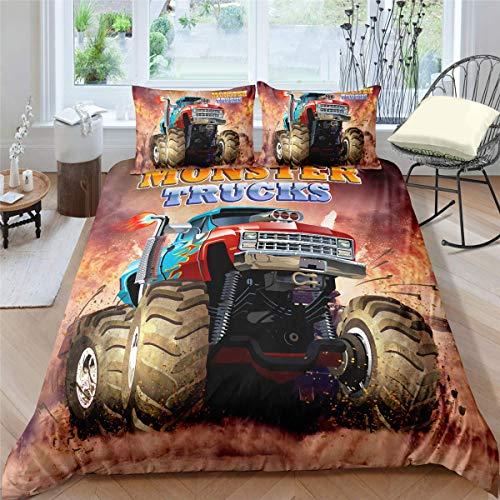 3 Stück Queen-size-schlafzimmer-set (CXDM 3 Stück Bettbezug-Set Monster Truck Queen Size, Jungen Hobby Sport Bettwäsche Set Exotisches Automobil Style Image Dekorativ Bettwäsche Set 2 Kissenbezüge,AUQueen)