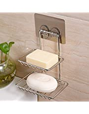 BATH CUBE 1 Pc Adhesive Sticker Double Soap Box Soap Dish Holder Soap Sponge Holder for Kitchen Bathroom