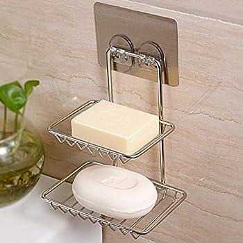 BATH CUBE 1 Pc Adhesive Sticker Double Soap Box Soap Dish Holder Soap Sponge Holder for Kitchen Bathroom